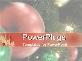 PowerPoint template displaying close up shot of a red ornament on a Christmas tree