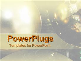 PowerPoint template displaying close up of Christmas ornament balls baubles, holidays