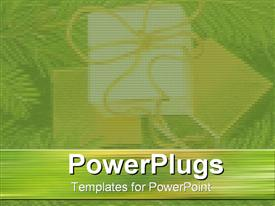 PowerPoint template displaying green and gold presents