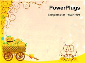 Halloween or autumn background with wagon full of pumpkins and funky vines powerpoint design layout