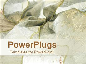 PowerPoint template displaying rich Christmas ribbon in white and gold