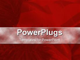 PowerPoint template displaying christmas depiction with beautiful flowers on red background