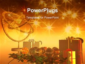 PowerPoint template displaying christmas theme with presents, ornaments and gold decoration, twinkling lights in background