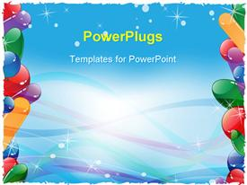 PowerPoint template displaying frame with colorful balloons and ribbons