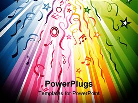 PowerPoint template displaying rainbow colored lines flowing from the back to the front with colorful music notes and stars, ribbons and streamers circles
