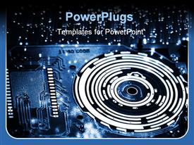 PowerPoint template displaying fiber optics with optical plate and gear light spots background