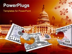 PowerPoint template displaying fifty dollars puzzle on dark red background with capitol