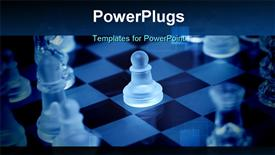 PowerPoint template displaying transparent pawn chess standing in the middle of chessboard. blue/cool tone