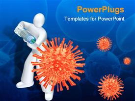 PowerPoint template displaying white human with syringe injecting vacine, orange viruses, blue cell germ background
