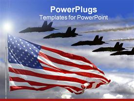 PowerPoint template displaying jet fighters flying over American flag