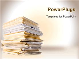 PowerPoint template displaying work to do business files paper white background