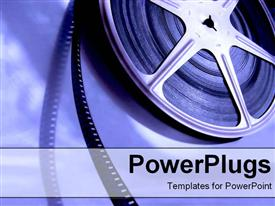 PowerPoint template displaying film in the background.