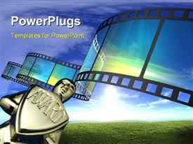 PowerPoint template displaying award with 3D cinema film reel