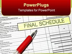 PowerPoint template displaying project Final Schedule with time graph and pen in the background.