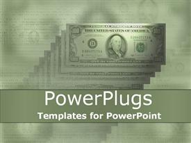 PowerPoint template displaying money one hundred dollar bills green background stacks of money