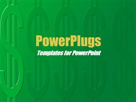 PowerPoint template displaying lots of dollar symbols on a dark green background