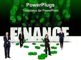 PowerPoint template displaying four coperately dressed adults in front of a Finance text