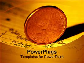 PowerPoint template displaying a large one dollar gold coin on an open chart