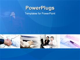 PowerPoint template displaying a number of professional people in their office with bluish background