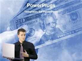 PowerPoint template displaying a professional with a laptop and dollars in the background