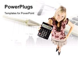 Headshot Of Young Blonde Woman With Calculator powerpoint template