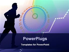 PowerPoint template displaying man rushing with gauge