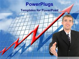 PowerPoint template displaying man smiles and gestures for handshake over red graph over blue grid