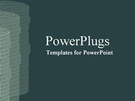 PowerPoint template displaying coins with crisp green color arranged in three stacks