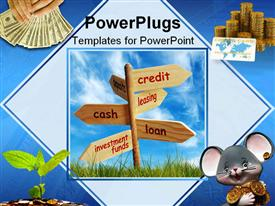 PowerPoint template displaying collage of wooden signpost with money and credit card at corners