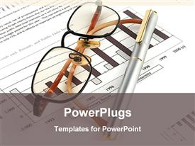 PowerPoint template displaying eye glasses and ball point pen on yearly financial report