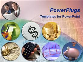 PowerPoint template displaying array of finance, money themed depictions over euro coin in pink and blue background
