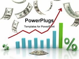 PowerPoint template displaying financial chart currency transactions, financial success in the background.