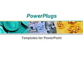 PowerPoint template displaying stack of coins and puzzle pieces with golden round balls