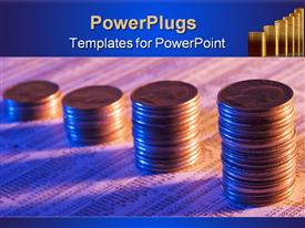 PowerPoint template displaying coins stacked as a rising graph on stock report