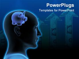 PowerPoint template displaying a human head with a piggy bank as a brain