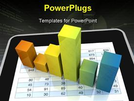 Computer spreadsheet and charts to show the concept of modern tools for financial and market analysis (3D render) powerpoint theme