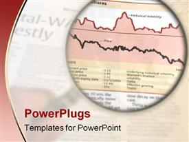PowerPoint template displaying hand holding a magnifying glass focusing on a chart in the business section of the newspaper