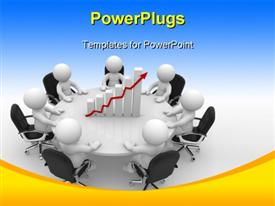 PowerPoint template displaying business people having round table meeting with financial chart