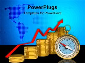 PowerPoint template displaying stacks of gold coins and a compass on a blue map background