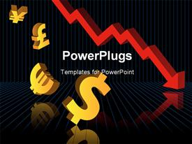 PowerPoint template displaying abstract depiction of financial graphs and currency symbols crashing to the floor