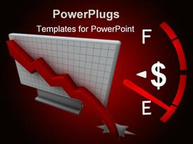 PowerPoint template displaying guage with dollar sign approaching empty on a red background