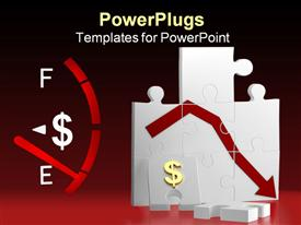 PowerPoint template displaying dollar meter with dial on empty indicator and chart showing financial loss