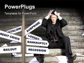 PowerPoint template displaying man in financial crisis puts hand over head with signpost of financial terms