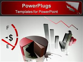 PowerPoint template displaying depiction Concept of a financial crisis with bar and pie chart in the background.