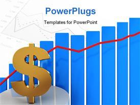 PowerPoint template displaying dollar sign jumping over a progressive bar graph