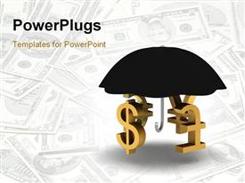PowerPoint template displaying a number of currency signs under an umbrella with dollar notes in the background