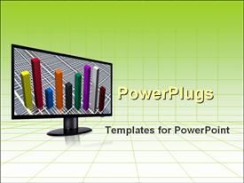 PowerPoint template displaying bar chart on the computer monitor over green grid background