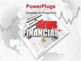 PowerPoint template displaying financial news logo on newspaper with world map