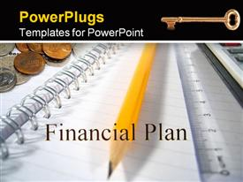 PowerPoint template displaying financial plan and notebook, sharpened pencil, stack of silver and bronze coins, liner and golden key