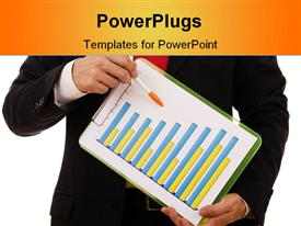PowerPoint template displaying close-up of a businessman showing a financial report in the background.